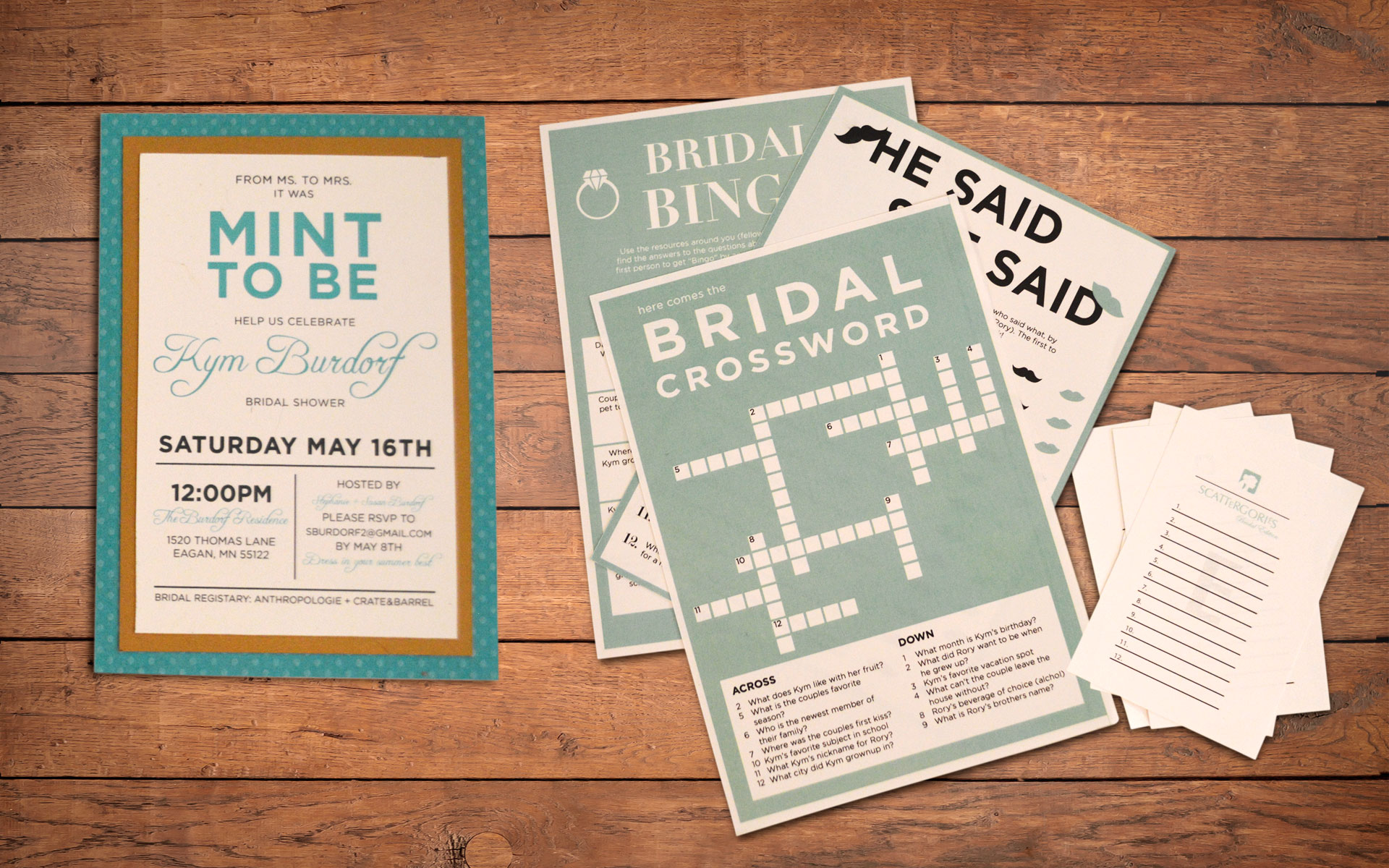 Bridal Shower Invitation And A Selection Of Printed Entertainment Pieces